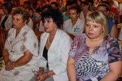 Sitzung von Gesundheitsfürsorgern der Gomel-Region von Weißrussland und der Diskussion über gegenwärtige Probleme im Jahre 2016 Stockfotos