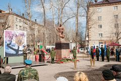 Sitzung von Rettern auf Unfall auf Tschornobyl NPP Lizenzfreie Stockfotos