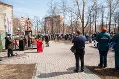 Sitzung von Rettern auf Unfall auf Tschornobyl NPP Lizenzfreies Stockbild