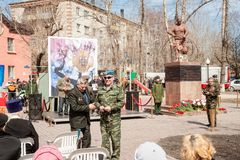 Sitzung von Rettern auf Unfall auf Tschornobyl NPP Lizenzfreie Stockbilder