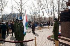 Sitzung von Rettern auf Unfall auf Tschornobyl NPP Stockfotos
