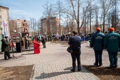 Sitzung von Rettern auf Unfall auf Tschornobyl NPP Stockfoto