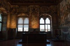 Sitzungssaal oder Hall von Gerechtigkeit im Palazzo Vecchio, Florenz, Italien Stockbild
