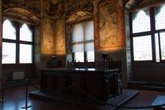 Sitzungssaal oder Hall von Gerechtigkeit im Palazzo Vecchio, Florenz, Italien Lizenzfreie Stockfotos