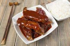 Reforços de reposição pegajosos chineses de carne de porco fotos de stock royalty free