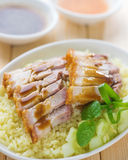 Siu Yuk or sliced Chinese boneless roast pork with crispy skin Royalty Free Stock Image