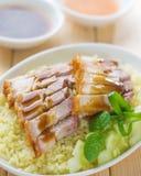Siu Yuk or sliced Chinese boneless roast pork with crispy skin Royalty Free Stock Image