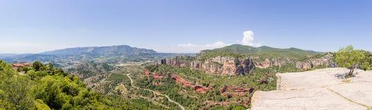 Siurana,卡塔龙尼亚,西班牙全景  免版税库存照片