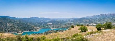 Siurana,卡塔龙尼亚,西班牙全景  库存照片