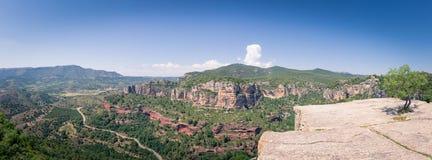 Siurana,卡塔龙尼亚,西班牙全景  库存图片
