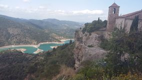 Siurana River from the village church, Siuran, Tarragona. The siurana river rises in the montsanch mountains and is affluent of the ebro river, its royalty free stock images
