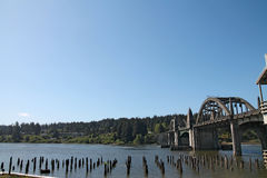 Siuslaw Bridge over waters in Florence, Oregon Royalty Free Stock Images
