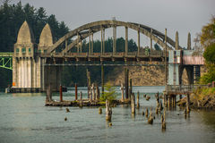 Siuslaw River Bridge from the Florence Marina Oregon. USA royalty free stock images