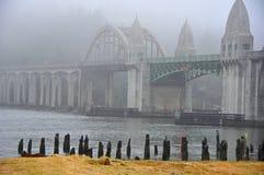 Siuslaw River Bridge in the Fog Royalty Free Stock Photos