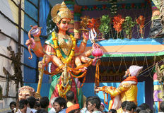 Sivaji praying Godess Tulja Bhavani statue Stock Photo