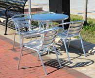 Siver Patio Lounge Table and Chairs. Town Point Park Norfolk Virginia Royalty Free Stock Images