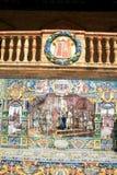 Siviglia. Azulejos tipici della ceramica del Espana della plaza fotografia stock libera da diritti