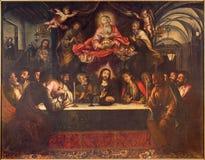 Siviglia - la pittura di ultima cena sull'altare principale in chiesa barrocco Hospital de los Venerables Sacerdotes Fotografia Stock