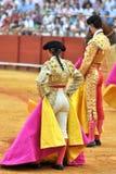 Siviglia, la spagna, torero e torero della donna in La Maestranza immagine stock