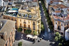 Siviglia - Plaza Virgen de los Reyes view from the top of the Giralda tower. Spain. stock photo
