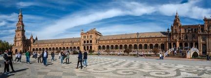 Siviglia, punto di vista panoramico di Plaza de Espana immagine stock