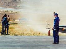 Sivrihisar, Eskisehir, Turkey - September 17, 2017: Sivrihisar Airshows (SHG), small aviation event displayed in SUSHM. Pilot of Sbach 342 aircraft Tim Tibo royalty free stock images