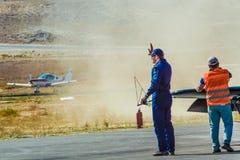 Sivrihisar, Eskisehir, Turkey - September 17, 2017: Sivrihisar Airshows (SHG), small aviation event displayed in SUSHM. Pilot of Sbach 342 aircraft Tim Tibo royalty free stock image