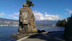 Siwash岩石在史丹利公园,温哥华 免版税库存照片
