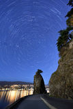 Siwash Rock and Star Trails, Stanley Park, Vancouver Royalty Free Stock Photos