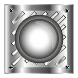 Siwieje alarmowego błyszczącego guzika z metali elementami, tło Obraz Royalty Free