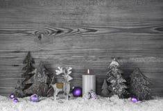 Siwieje drewnianego tło z reniferem, drzewami i fiołkiem handmade, zdjęcie royalty free