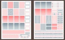 Siwieje printable majcherów dla planisty i różowi ilustracja wektor