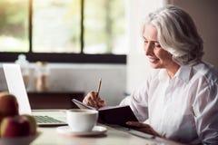 Siwowłosa dama bierze notatki z ołówkiem i używa laptop Zdjęcia Stock