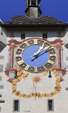 Siwss old town Baden: Gate with sundial Royalty Free Stock Photography