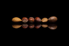 Six écrous avec carapace, deux amandes, une noix de pécan et trois noisettes i photographie stock