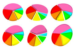 Six 3d pie graph. With different colored segments Royalty Free Stock Photos