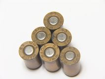 Six 9mm bullets. Macro of  9mm bullets on white background Stock Photography