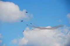 Six aéronefs à un vol Photo libre de droits