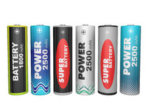 Six AA batteries Stock Image