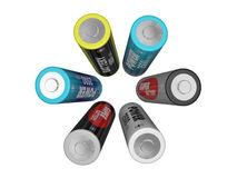 Six AA batteries Royalty Free Stock Photos