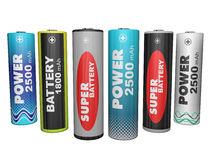 Six AA batteries Royalty Free Stock Images