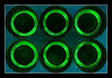 Six abstract green glasses Stock Photo