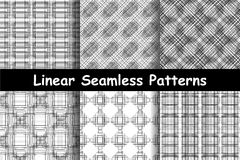 Six abstract seamless patterns. Black and white colors. Horizontal, vertical and diagonal lines. Linear design. Strict style. Vector illustration Royalty Free Illustration