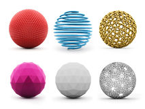 Six abstract spheres colored isolated on white Stock Photography