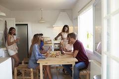 Six adult friends in the kitchen at a casual dinner party Royalty Free Stock Image