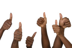 Six african hands showing thumb up Stock Photos