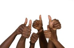 Six african hands showing thumb up Stock Photo