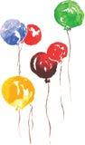 Six air celebratory beads, hand-drawn watercolor. Six air celebratory beads - blue, red , green and yellow , hand-drawn watercolor Stock Photos