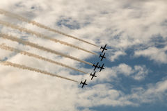 Six aircrafs. MAKS-2015. Aerobatics. The patterns in the sky. L-39 Royalty Free Stock Images