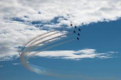 Six aircrafs. MAKS-2015. Aerobatics. The patterns in the sky. L-39 Stock Photos